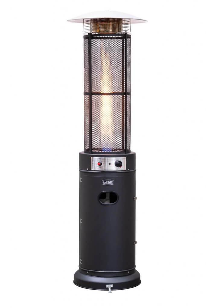 8713415324327 Flameheater round 11000 Watt terrasverwarmer op gas zichtbare vlam stoer ontwerp