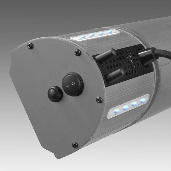 8713415334586 Heat and Beat Antraciet elektrische terrasverwarmer met speakers en LED verlichting app bediening