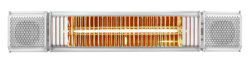 8713415334593 Heat and Beat white elektrische terrasverwarmer met LED bluetooth en bediening via app