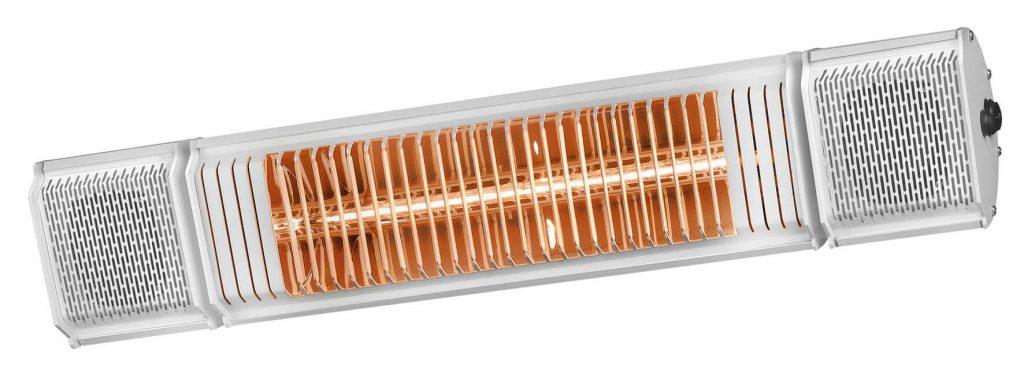 8713415334593 Heat and Beat Weiß elektrische Terrassenheizung mit Lautsprechern und LED-Beleuchtungs-App-Steuerung