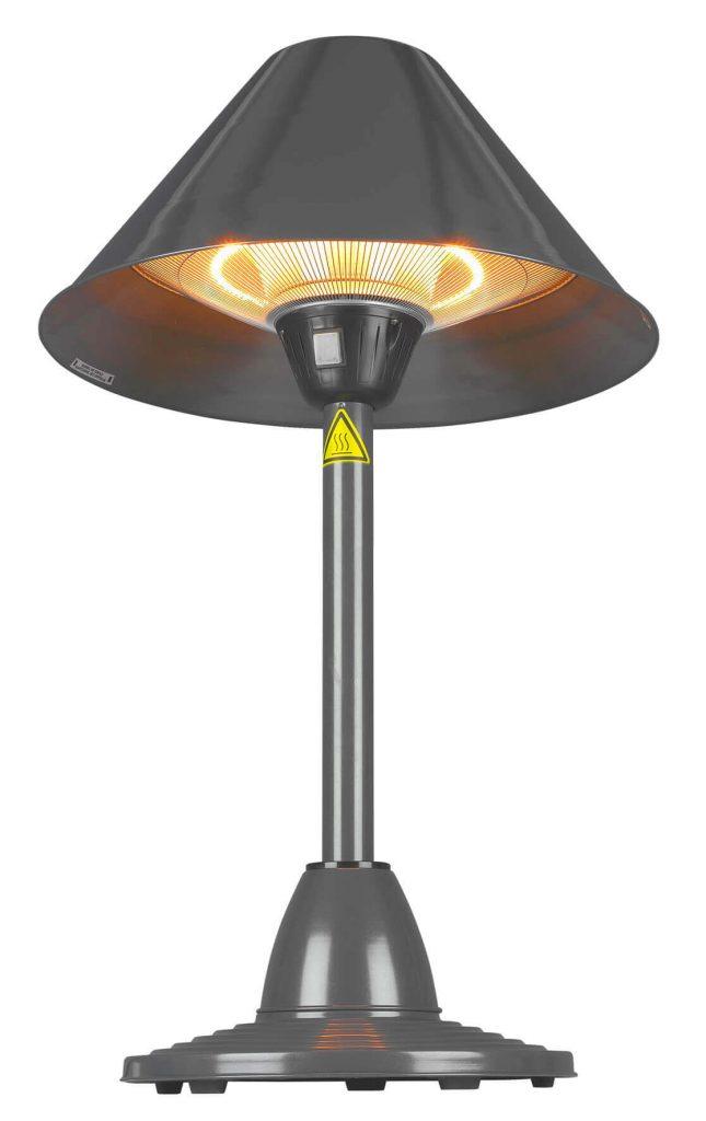8713415333299 PD1500 elektrische terrasverwarmer staand op tafel halogeen