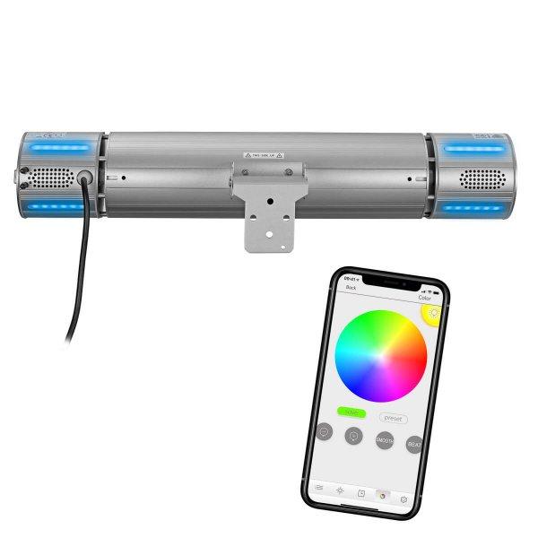 8713415334586 Heat and Beat Grey elektrische terrasverwarmer met bluetooth bediening