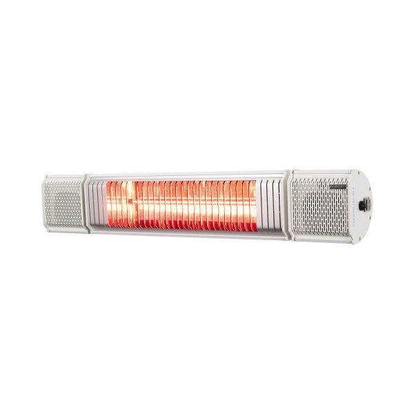8713415334593 Heat and Beat White elektrische terrasverwarmer met Bluetooth bediening