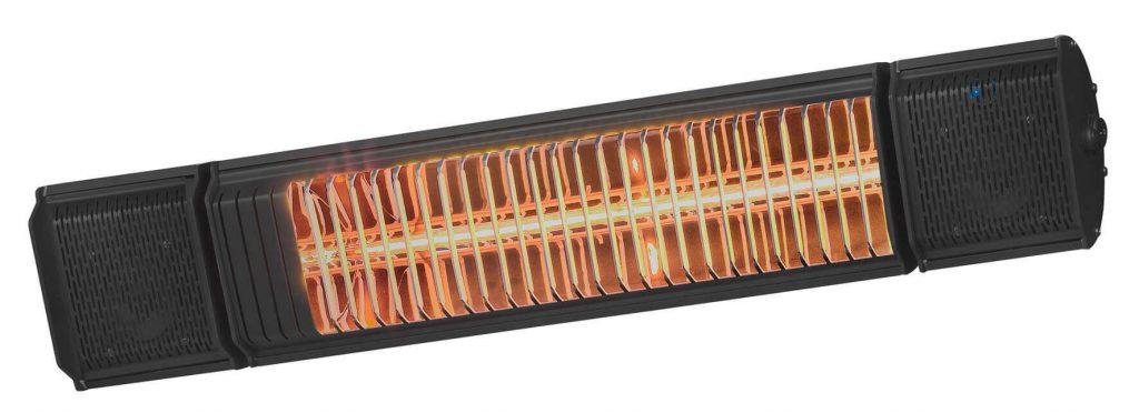 8713415334579 Heat and Beat Zwart elektrische terrasverwarmer met speakers en LED verlichting app bediening